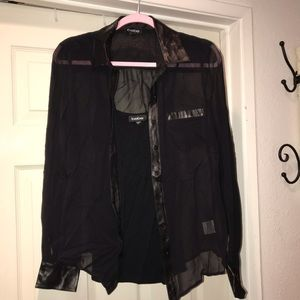 BEBE black button down blouse with attached tank